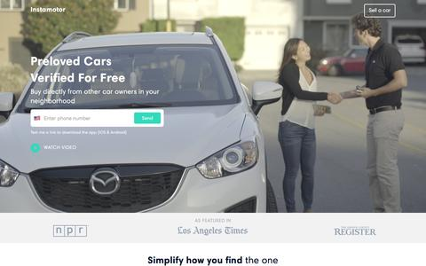Screenshot of Home Page instamotor.com - Buy and Sell Used Cars, Local Listings, Photos, Free History Report - Instamotor - captured Feb. 29, 2016
