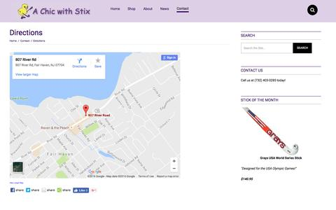 Screenshot of Maps & Directions Page achicwithstix.com - Directions to A Chic With Stix | Monmouth County Field Hockey Store - captured Oct. 18, 2016