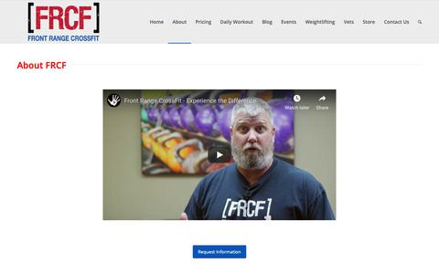Screenshot of About Page frontrangecrossfit.com - About FRCF - captured Feb. 4, 2019