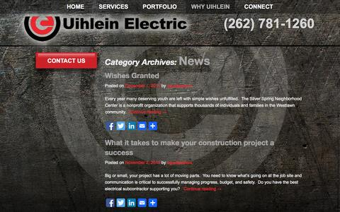 Screenshot of Press Page uihleinelectric.com - News Archives - Uihlein Electric - captured Jan. 12, 2016