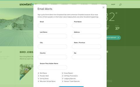 Screenshot of Signup Page snowbird.com - Email Alerts - captured Oct. 26, 2015