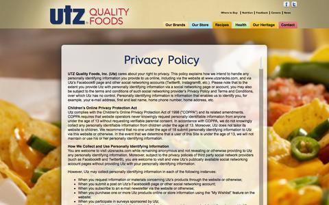 Screenshot of Privacy Page utzsnacks.com - Privacy - captured Nov. 4, 2014