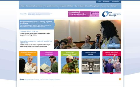 Screenshot of Home Page co-op.ac.uk - The Co-operative College - captured Oct. 2, 2014