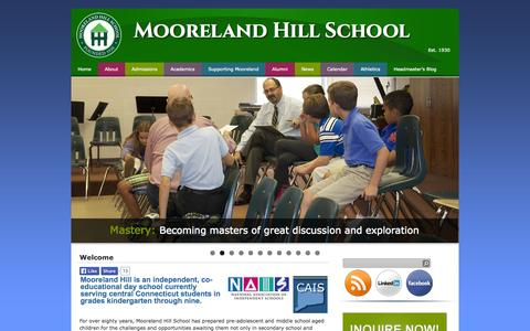 Screenshot of Home Page mooreland.org - Mooreland Hill School For Pre-Adolescent & Middle School Aged Children - captured Oct. 8, 2014
