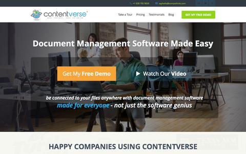 Screenshot of Home Page contentverse.com - Contentverse: Document Management Software | Digital Filing Software - captured Oct. 10, 2014