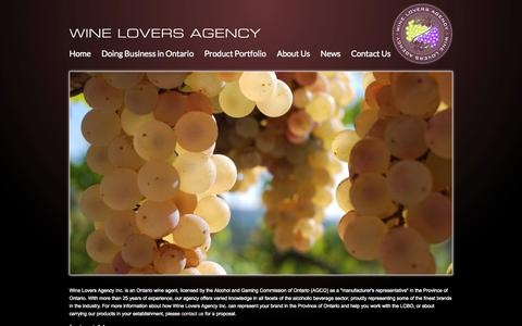 Screenshot of Home Page wineloversagency.com - Wine Lovers Agency Inc - An Ontario Wine Agent - captured Sept. 30, 2014