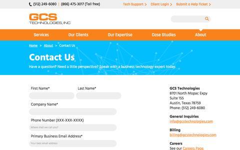 Screenshot of Contact Page gcsaustin.com - Contact Us | GCS Technologies - captured Sept. 25, 2018