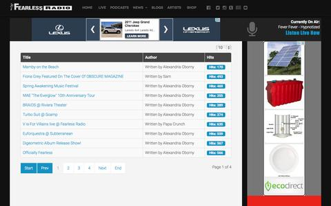 Screenshot of Blog fearlessradio.com - Blog - Fearless Radio - captured Aug. 3, 2015