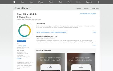 Screenshot of iOS App Page apple.com - SmartThings Mobile on the App Store on iTunes - captured Oct. 22, 2014