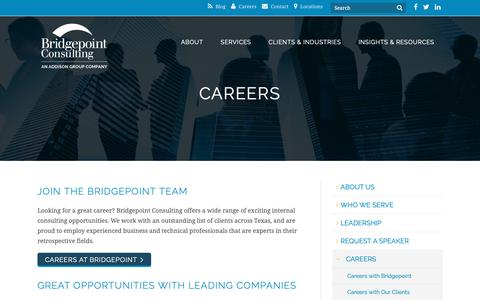 Screenshot of Jobs Page bridgepointconsulting.com - Careers - Bridgepoint Consulting - captured Oct. 6, 2018