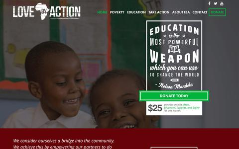 Screenshot of Home Page lovebyaction.org - Love By Action - Nairobi, Kenya   We strive to eradicate illiteracy and to break the cycle of poverty through education and training. - captured Dec. 13, 2015