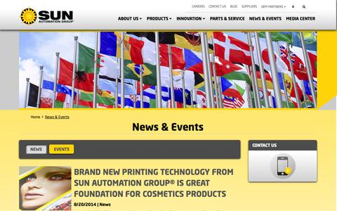 Screenshot of Press Page sunautomation.com - News and Events from SUN - captured Oct. 3, 2014