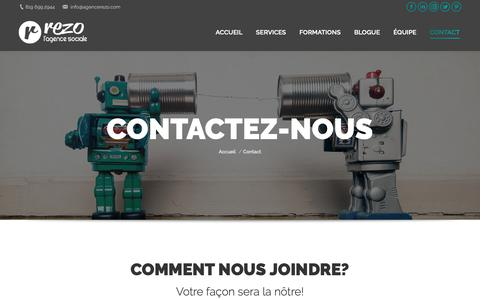 Screenshot of Contact Page agencerezo.com - Contact | REZO l'agence sociale - captured Nov. 12, 2018
