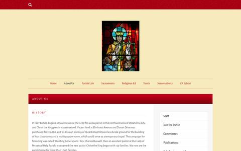Screenshot of About Page ckokc.org - About Us | Christ the King Catholic Church - captured Oct. 2, 2014