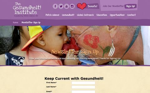 Screenshot of Signup Page patchadams.org - Gesundheit! Institute Newsletter Sign Up - Gesundheit! Institute - captured Jan. 28, 2016