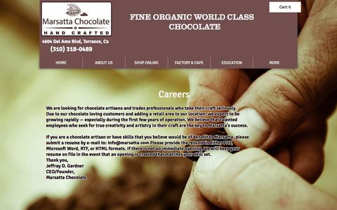 Screenshot of Jobs Page marsatta.com - Marsatta Chocolate Los Angeles | Vegan Organic Chocolate | Bean To Bar | JOIN OUR TEAM - captured Sept. 30, 2017
