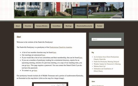 Screenshot of Home Page nashvillepca.org - Nashville Presbytery | Presbyterian Church in America - captured May 8, 2016