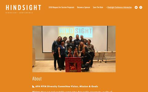 Screenshot of About Page hindsightcon.com - About Us — Hindsight - captured Sept. 28, 2018