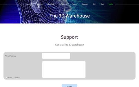 Screenshot of Support Page the3dwarehouse.com - Help / Contact Us | The 3D Warehouse - captured June 4, 2016