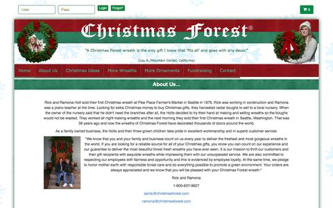 Screenshot of About Page christmasforest.com - About Us - Selling Christmas wreaths since 1976! - captured July 13, 2016