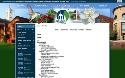 Screenshot of Site Map Page desotocountyms.gov - DeSoto County, MS - Official Website - captured Oct. 5, 2014