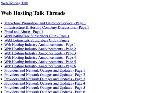 Screenshot of Site Map Page webhostingtalk.com - Web Hosting Talk Flat Sitemap - captured Oct. 12, 2019