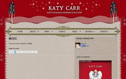 Screenshot of Press Page katycarr.com - Music - Katy Carr - captured Oct. 5, 2014