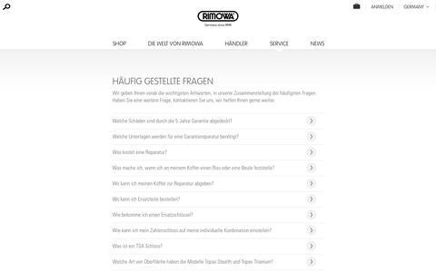 Screenshot of FAQ Page rimowa.com - Häufig gestellte Fragen   RIMOWA - captured Oct. 7, 2017
