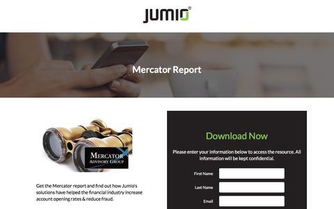 Screenshot of Landing Page jumio.com - Mercator Report - captured April 1, 2018