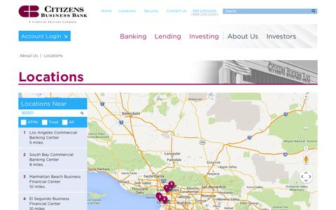 Screenshot of Locations Page cbbank.com - Locations - Citizens Business Bank - captured Oct. 31, 2014