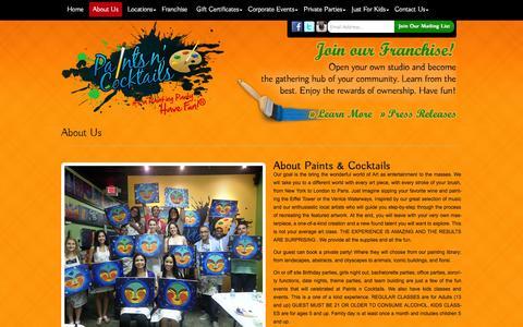 Screenshot of About Page paintsncocktails.com - Paints N' Cocktails - About Us and Our Painting Studio! - captured Oct. 3, 2014