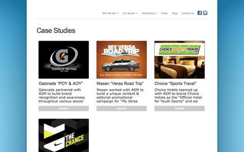 Screenshot of Case Studies Page adsportsmedia.com - Case Studies : Advanced Sports Media Group, LLC. - captured Oct. 4, 2014