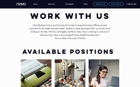 Screenshot of Jobs Page staynovo.com - Furnished Extended Stay Apartments in NYC & LA | Novo Boutique Living | Jobs - captured Sept. 21, 2018