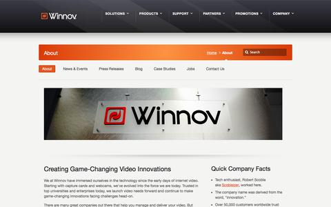 Screenshot of About Page winnov.com - About » - captured Sept. 20, 2018