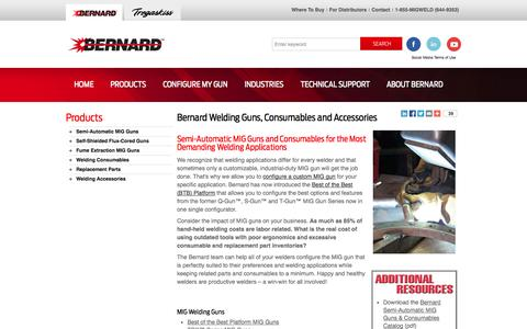 Screenshot of Products Page bernardwelds.com - Bernard Welding Guns, Consumables and Accessories - captured Oct. 5, 2014