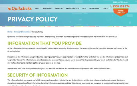 Screenshot of Privacy Page quikclicks.com.au - Quikclicks Website Design Privacy Policy - captured July 25, 2018