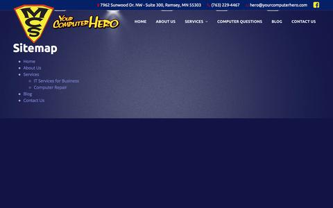 Screenshot of Site Map Page yourcomputerhero.com - Sitemap – Your Computer Hero - captured Sept. 20, 2018
