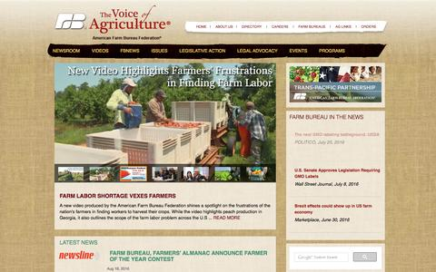 Screenshot of Home Page fb.org - The Voice of Agriculture - American Farm Bureau - captured Aug. 19, 2016