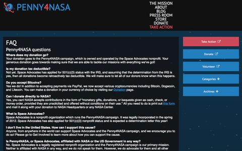 Screenshot of FAQ Page penny4nasa.org - FAQ | Penny4NASA - captured Sept. 29, 2014