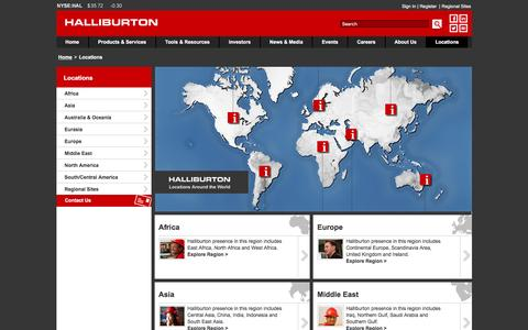 Screenshot of Contact Page Locations Page halliburton.com - Halliburton Global Locations - Halliburton - captured April 1, 2016
