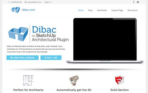 Screenshot of Home Page dibac.com - Dibac for SketchUp Architectural Plugin - captured Sept. 7, 2015