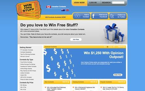 Screenshot of Home Page win-free-stuff.ca - Win Free Stuff - Canadian Contests - captured Sept. 23, 2014