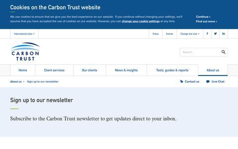 Screenshot of Signup Page carbontrust.com - Sign up to our newsletter - captured Nov. 30, 2016