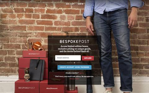 Screenshot of Home Page bespokepost.com - Bespoke Post - The Box of Awesome - Subscriptions for Men - captured Oct. 2, 2015