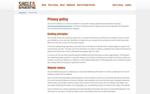 Screenshot of Privacy Page singleandparenting.org - Privacy Policy - Single & Parenting - captured Dec. 31, 2016