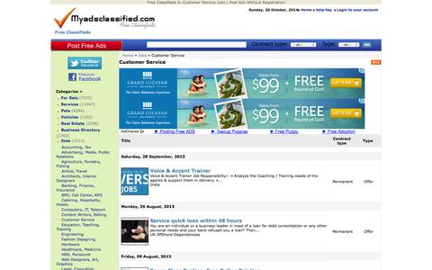 Screenshot of Support Page myadsclassified.com - Free Classifieds In Customer Service Jobs   Post Ads Without Registration - captured Oct. 26, 2014