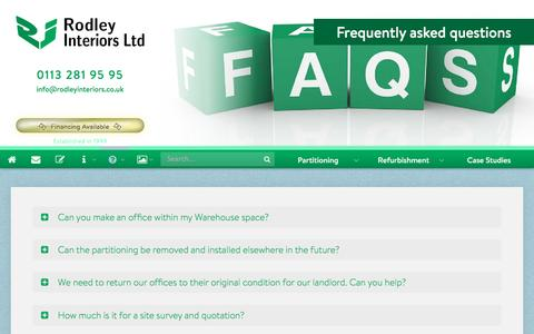 Screenshot of FAQ Page rodleyinteriors.co.uk - Office Partitioning FAQs – Rodley Interiors, Leeds - captured Dec. 9, 2016