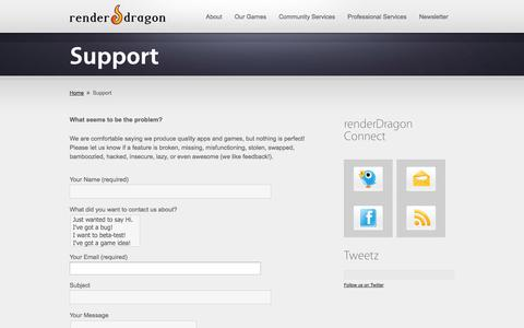 Screenshot of Support Page renderdragon.com - Support « renderDragon Games - captured Oct. 26, 2014