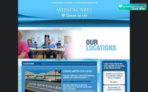 Screenshot of Locations Page living-arts-college.edu - Technical Schools in Raleigh and Winston-Salem, NC – Living Arts - captured Nov. 11, 2016