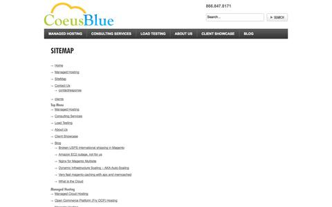 Screenshot of Site Map Page coeusblue.com - SiteMap - captured Sept. 30, 2014